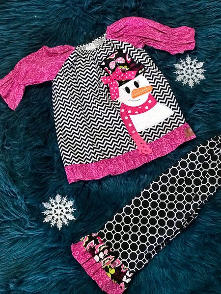 Millie Jay Christmas Chevron & Hot Pink Applique Snowman Pant Set - JEN'S KIDS BOUTIQUE