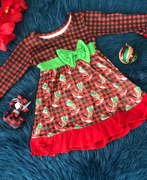 New Christmas Grinch & Cindy Lou Plaid With Green Bow - JEN'S KIDS BOUTIQUE