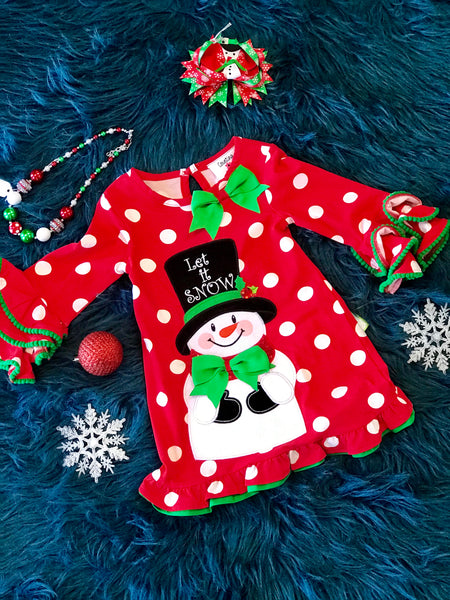 2018 Christmas Red Polka Dot Let It Snow Snowman Dress - JEN'S KIDS BOUTIQUE