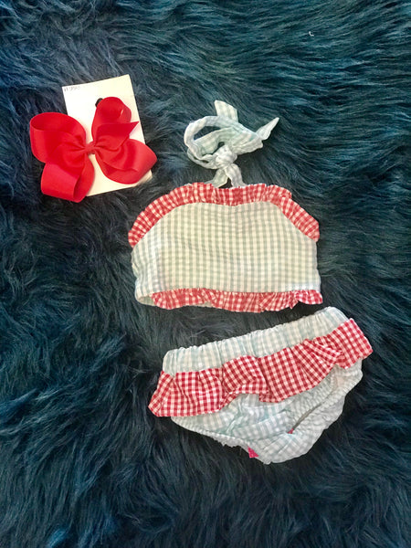 2018 Sweet Aqua & Red Two Piece Seersucker Lined Swim Suit - JEN'S KIDS BOUTIQUE