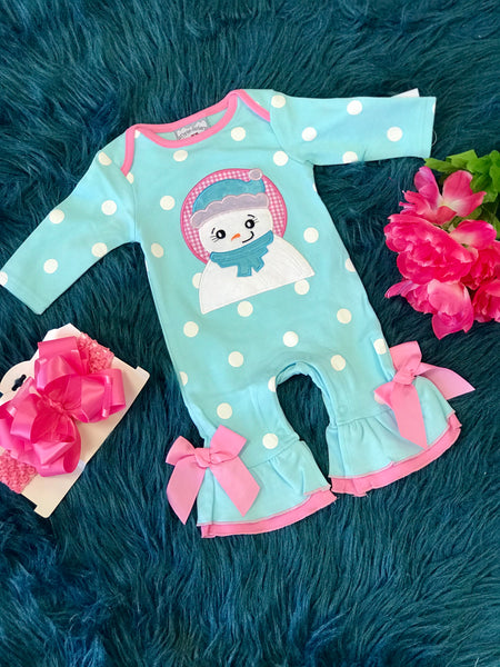 New Christmas Blue Polka Dot & Pink Bows Snowman Applique Nit Romper C - JEN'S KIDS BOUTIQUE