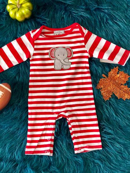Fall Three Sisters Boys Stripped Elephant Infant Romper - JEN'S KIDS BOUTIQUE