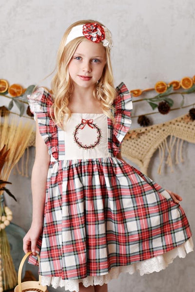 Serendipity Holiday Winter Enchantment Embroidery Pinafore Dress - JEN'S KIDS BOUTIQUE