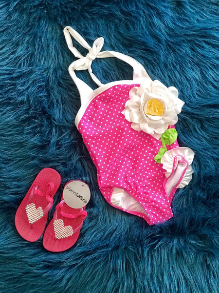 2018 Summer Downeast  Love U Lots Pink Polka Dot FlowerOne Piece Swimsuit - JEN'S KIDS BOUTIQUE
