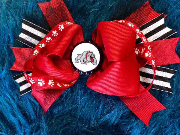 2018 Fall Bulldog Red & Black Hair Bow - JEN'S KIDS BOUTIQUE