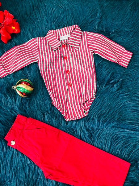 KoKo Nut Boys Christmas Stripped Red & Green Button Down  Infant Snap Romper C - JEN'S KIDS BOUTIQUE