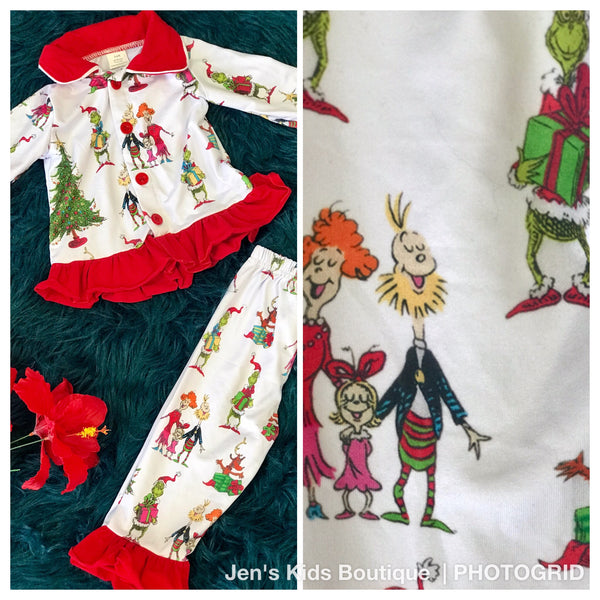 New Fall Girls The Grinch On Parade Christmas Pjs CH - JEN'S KIDS BOUTIQUE