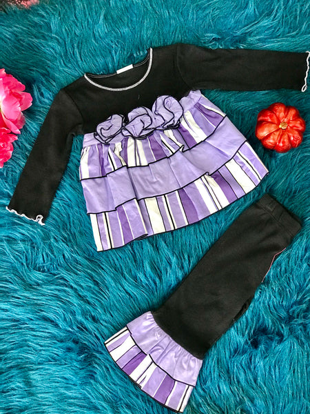 Ann Loren Mixed Purple & Black Bell Pant Set