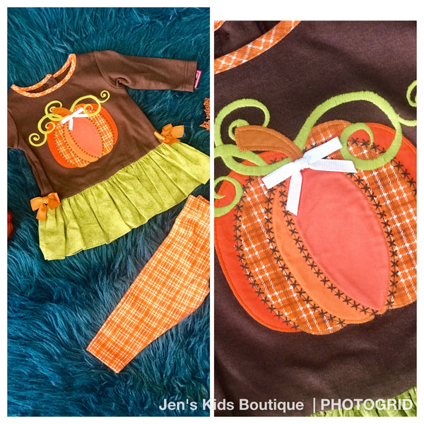 Molly & Millie  Thanksgiving Brown & Orange Pumpkin Pant Set w/ Ruffle on Bottom THC - JEN'S KIDS BOUTIQUE