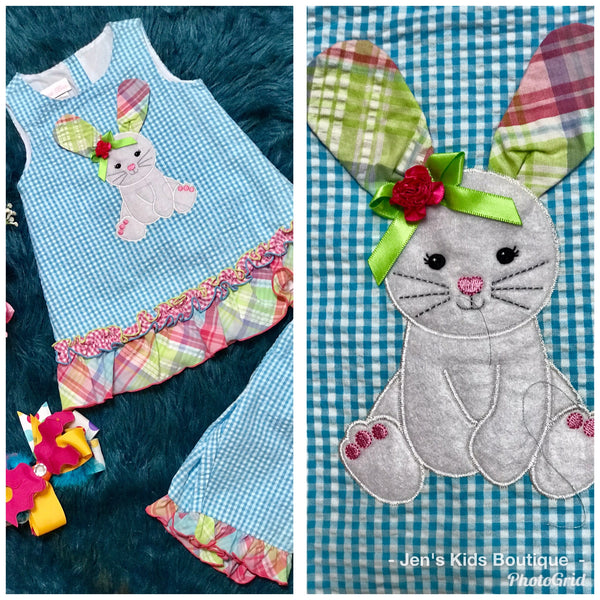 Bonnie Happy Easter Bunny Blue With Gingham Ears  Capri Set C - JEN'S KIDS BOUTIQUE