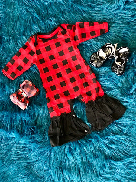 2018 Fall Red & Black Plaid Ruffle Girls Romper - JEN'S KIDS BOUTIQUE