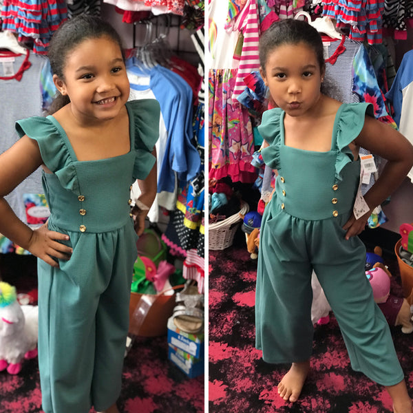 New Fall Teal With Gold Buttons Short Sleeve Romper - JEN'S KIDS BOUTIQUE