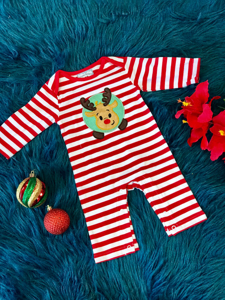 New Christmas Three Sisters Boys Red & White Stripped Reindeer Applique Nit Romper - JEN'S KIDS BOUTIQUE
