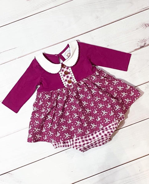 Swoon By Serendipity Fall Charleston Picot Petal Dress Infant Bubble - JEN'S KIDS BOUTIQUE