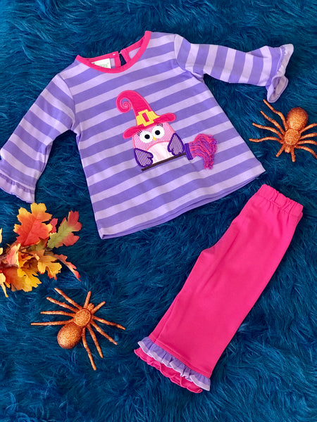 Zuccini Halloween Applique Purple Stripped Pant Set H - JEN'S KIDS BOUTIQUE