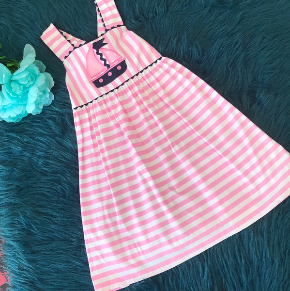 True Spring Pink Stripped Sail Boat Sleeveless Dress - JEN'S KIDS BOUTIQUE