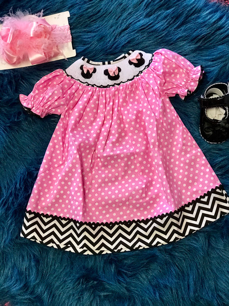 Spring Adorable Smocked Minnie Pink Dress - JEN'S KIDS BOUTIQUE