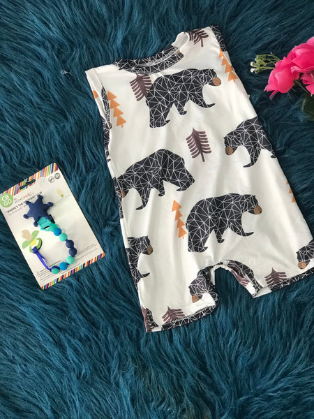 2019 Spring & Summer Boys Forest Bears Friends Romper - JEN'S KIDS BOUTIQUE