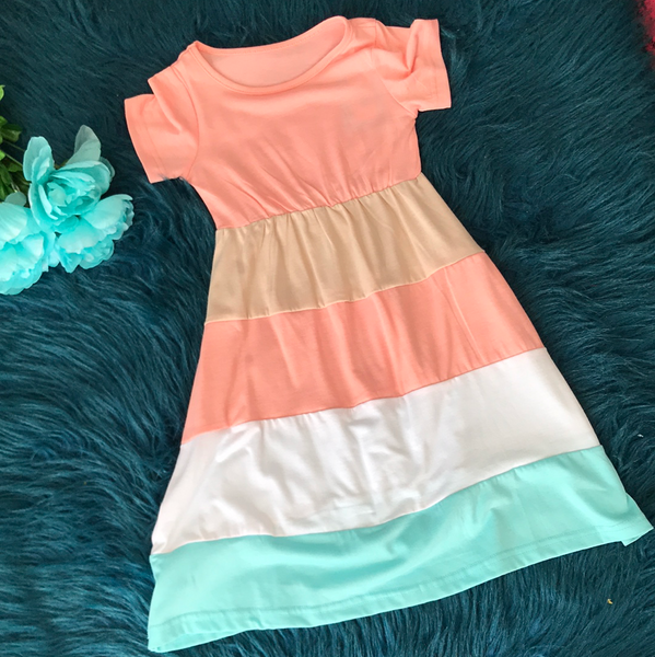 Coral Tan White & Teal Stripped Dress CLS