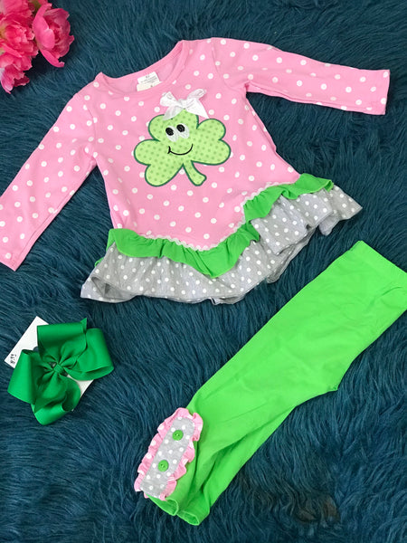 Saint Patricks Pink & Green Happy Clover Ruffle Button Pant Set P - JEN'S KIDS BOUTIQUE