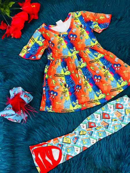 Character Fun Dr Seuss And Friends Blue Orange Yellow & Red & Ballet Leggings - JEN'S KIDS BOUTIQUE