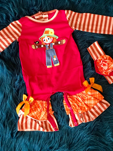 2018 Halloween Colorful Scarecrow Infant Romper - JEN'S KIDS BOUTIQUE