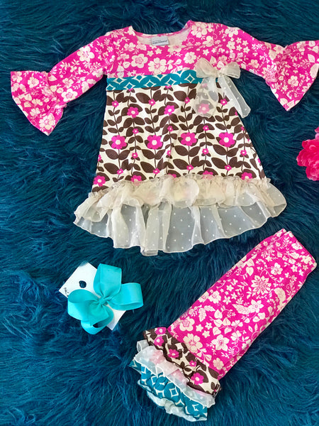 Fall Flap Happy Multi Pink Ruffle Floral Pant Set - JEN'S KIDS BOUTIQUE