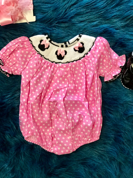 2018 Spring Adorable Smocked Minnie Bubble - JEN'S KIDS BOUTIQUE