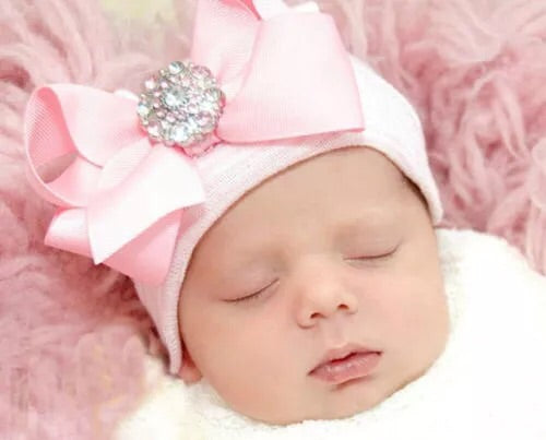 Infant Cap with Crystal Button Pink - JEN'S KIDS BOUTIQUE