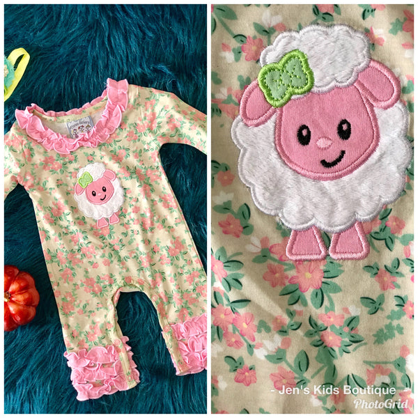 2018 Fall Three Sisters Fall Girls Ruffle Sheep Infant Romper - JEN'S KIDS BOUTIQUE