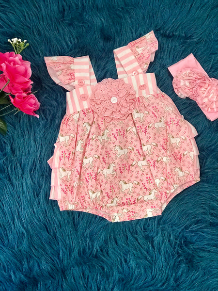 2019 Spring Serendipity Unicorn Bubble Romper - JEN'S KIDS BOUTIQUE