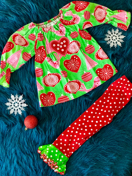 Baxter & Beatrice Christmas Ornament Pant Set CH - JEN'S KIDS BOUTIQUE
