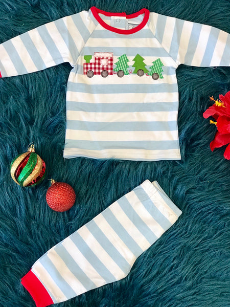 New Christmas Three Sisters Boys Applique Stripped Train Set - JEN'S KIDS BOUTIQUE