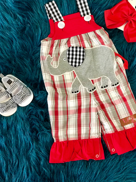 2018 Fall Millie Jay Elephant Applique Infant Romper - JEN'S KIDS BOUTIQUE