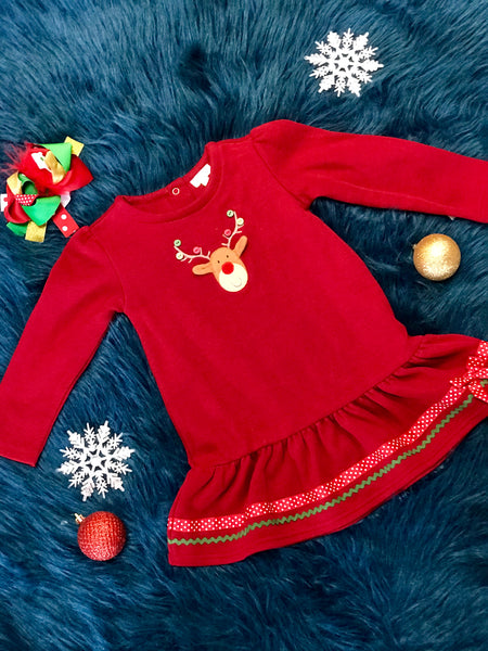 Christmas Red Reindeer Dress - JEN'S KIDS BOUTIQUE