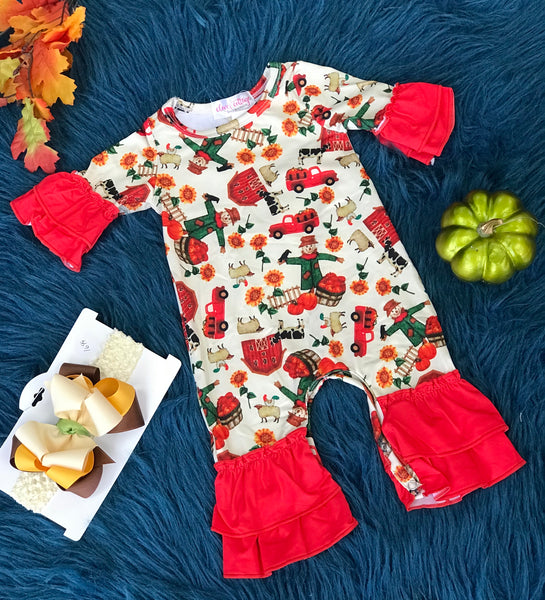 New Fall Clover Cottage Farm Romper w/ Red Edges - JEN'S KIDS BOUTIQUE