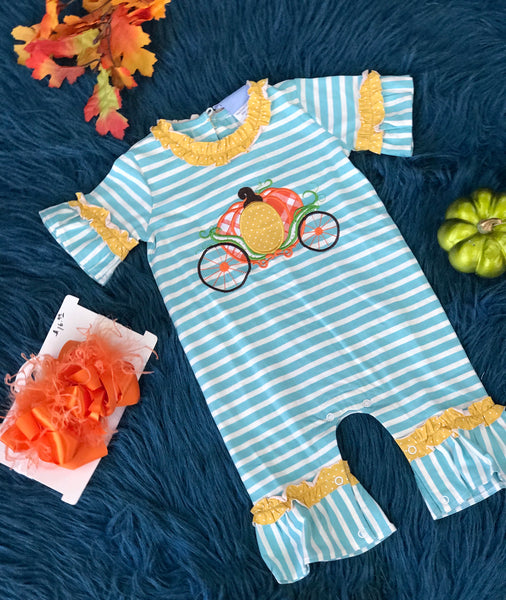 Three Sisters Pumpkin Carriage Stripped Romper - JEN'S KIDS BOUTIQUE