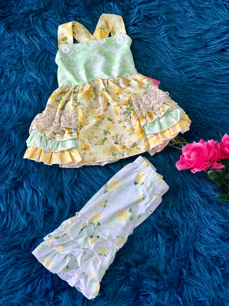 2019 Spring Wootie Pie Vintage Green & Yellow Rose Multi Ruffle Capri Set - JEN'S KIDS BOUTIQUE