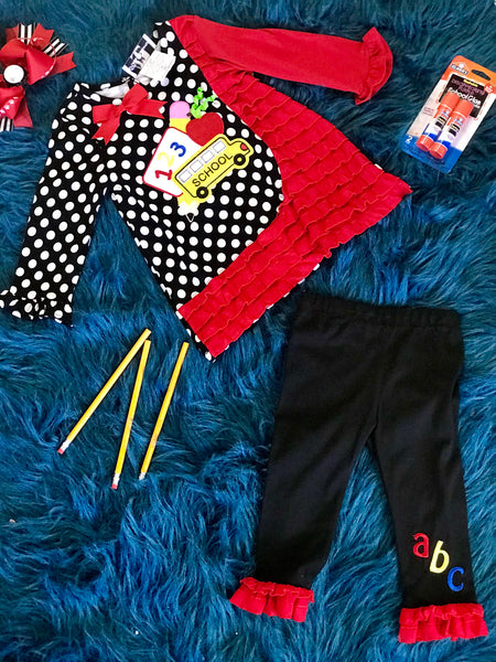 Fall Back To School Bus Polka Dot Fun Set - JEN'S KIDS BOUTIQUE