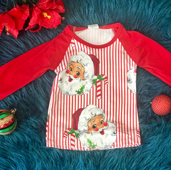 New Christmas Candy Cane Santa Stripped Shirt C - JEN'S KIDS BOUTIQUE