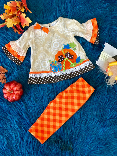 New Fall Its All About Fall Blue Pumpkin Legging Set - JEN'S KIDS BOUTIQUE