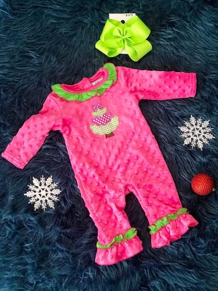 2018 Three Sisters Christmas Girls Ruffle O Christmas Tree Minky Infant Romper - JEN'S KIDS BOUTIQUE