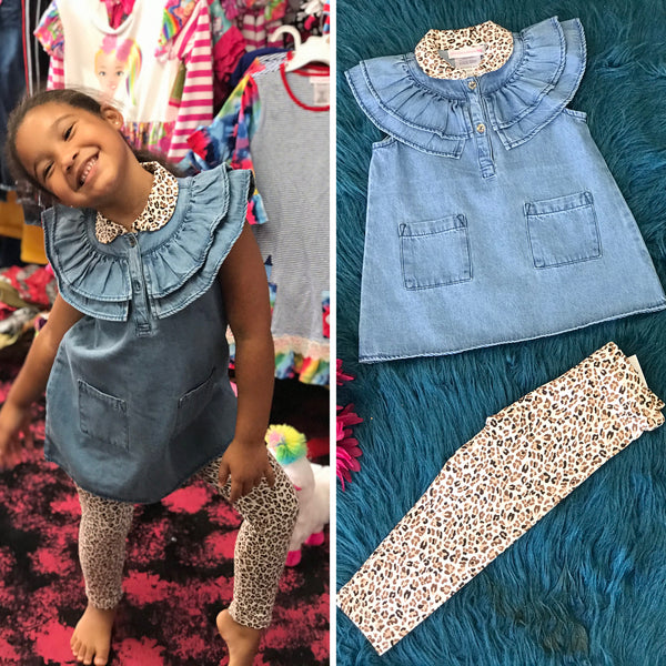 New Fall Bonnie Denim & Cheetah Legging Set - JEN'S KIDS BOUTIQUE
