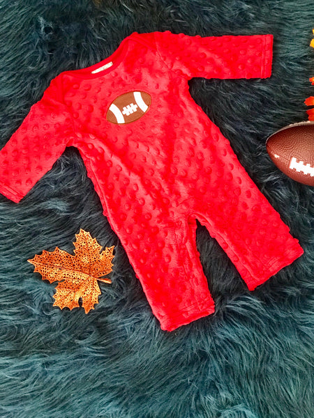 Three Sisters Fall Football Red Applique Minky Romper - JEN'S KIDS BOUTIQUE