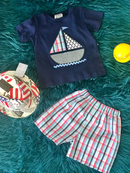 Summer Boys True Navy Sail Boat Shorts Set - JEN'S KIDS BOUTIQUE