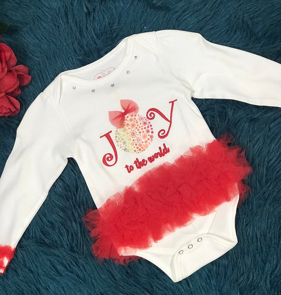 Ruffle Butts Joy To The World White & Red Tutu Onesie CH