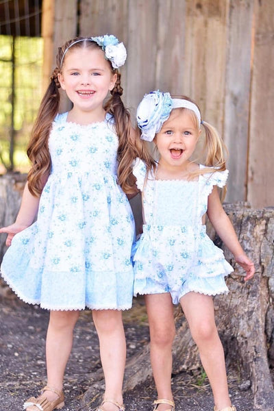 Summer Fun Sweet Blue Rose Summer Ruffle Bubble - JEN'S KIDS BOUTIQUE