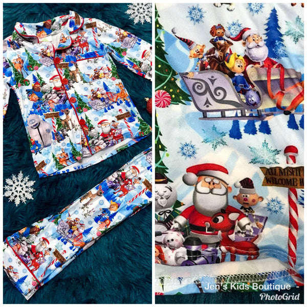 2018 Christmas North Pole Santa & Friends Cotton Button Down Pajamas - JEN'S KIDS BOUTIQUE
