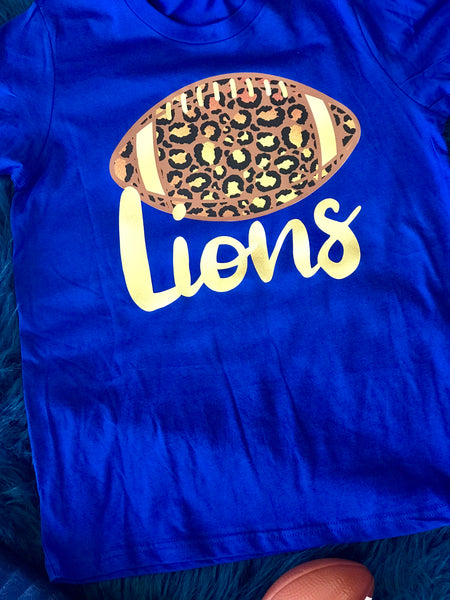 Fall Football Blue Cheetah Lions Women's Shirt - JEN'S KIDS BOUTIQUE