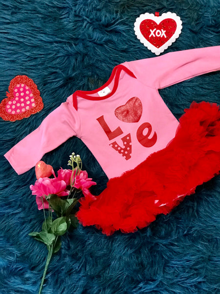 Valentine Pink With Red Tu Tu Love Onesie - JEN'S KIDS BOUTIQUE